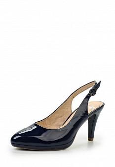 Женские синие кожаные лаковые босоножки на каблуке