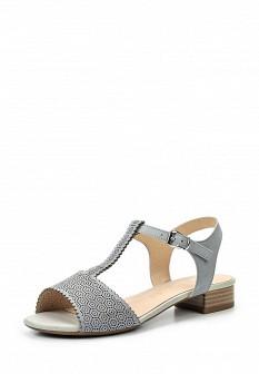 Женские голубые кожаные сандалии на каблуке