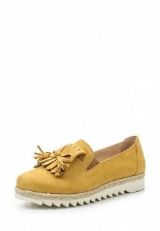 Женские желтые туфли лоферы