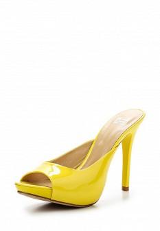 Женские желтые лаковые сабо на каблуке на платформе