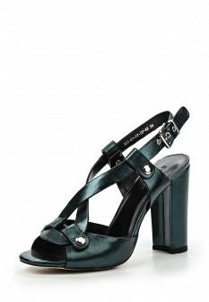 Женские зеленые кожаные босоножки на каблуке