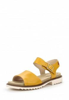 Женские желтые кожаные сандалии на каблуке
