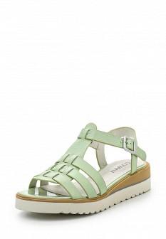 Женские зеленые кожаные сандалии на каблуке