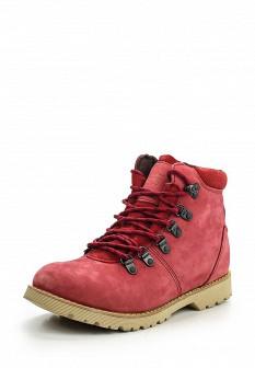 Женские красные осенние ботинки из нубука на каблуке