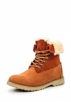 Женские оранжевые осенние ботинки из нубука на каблуке