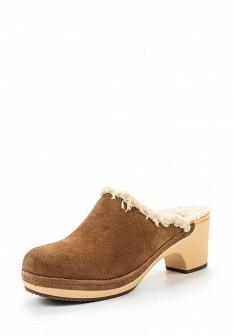 Женские коричневые осенние сабо на каблуке