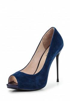Женские синие туфли на каблуке на платформе