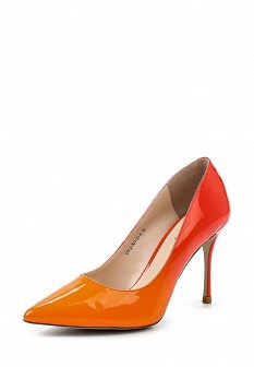 Женские оранжевые кожаные лаковые туфли на каблуке