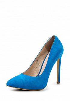 Женские голубые ботинки на каблуке