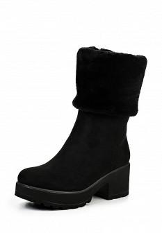Женские черные осенние сапоги на платформе с мехом