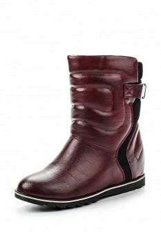 Женские бордовые осенние кожаные сапоги на каблуке