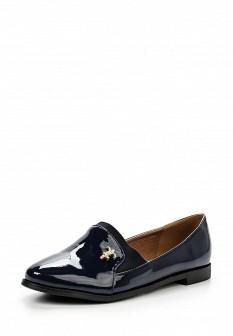 Женские синие лаковые текстильные туфли лоферы