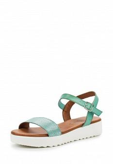Женские бирюзовые кожаные сандалии на каблуке