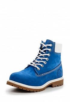 Женские синие испанские осенние ботинки из нубука