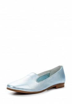 Женские голубые кожаные туфли лоферы на каблуке