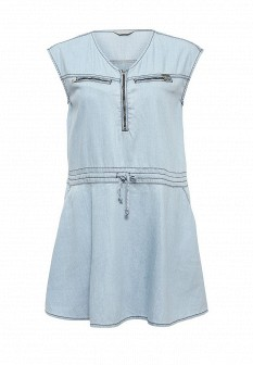 Голубое осеннее джинсовое платье