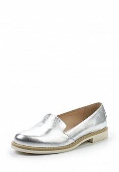 Женские серебряные лаковые туфли лоферы на каблуке