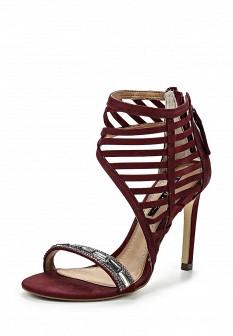 Женские бордовые босоножки на каблуке