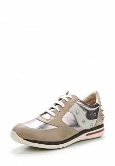 Женские бежевые осенние кожаные кроссовки