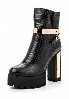 Женские черные кожаные ботильоны на каблуке на платформе