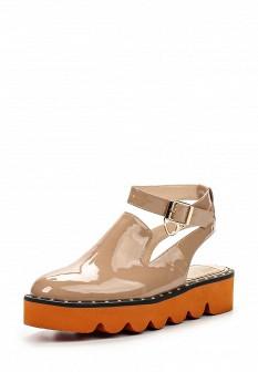 Женские бежевые кожаные лаковые босоножки на каблуке