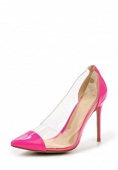 Женские розовые кожаные лаковые туфли на каблуке