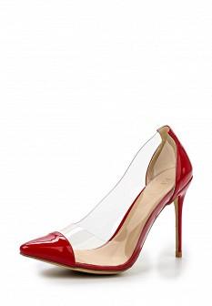 Женские красные кожаные лаковые прозрачные туфли