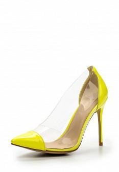 Женские желтые кожаные лаковые туфли на каблуке