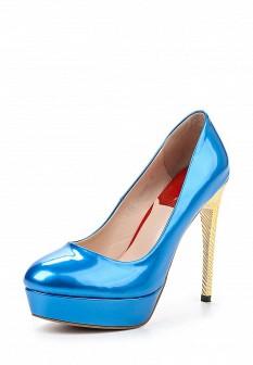 Женские голубые кожаные лаковые туфли на платформе