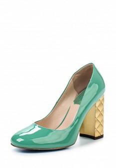 Женские зеленые кожаные лаковые туфли на каблуке