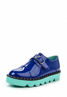 Женские синие кожаные ботинки на каблуке на платформе