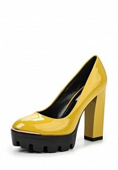 Женские желтые лаковые туфли на каблуке на платформе