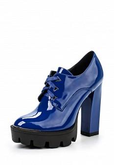 Женские синие кожаные ботильоны на каблуке на платформе