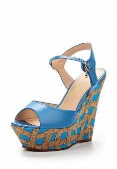 Женские голубые кожаные босоножки на каблуке на платформе
