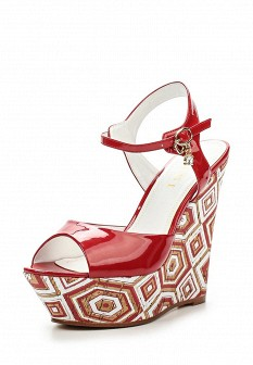 Женские красные лаковые босоножки на каблуке на платформе