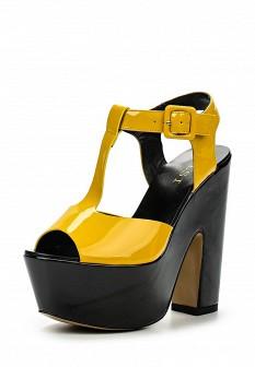 Женские желтые кожаные лаковые босоножки на платформе
