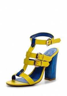 Женские желтые кожаные босоножки на каблуке