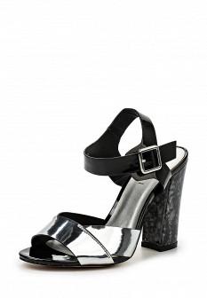 Женские кожаные лаковые босоножки на каблуке