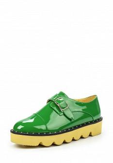 Женские зеленые осенние ботинки на каблуке на платформе