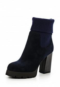 Женские синие осенние сапоги на каблуке на платформе