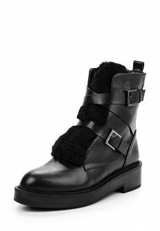 Женские черные осенние сапоги на каблуке с мехом