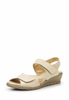 Женские бежевые испанские кожаные сандалии на каблуке