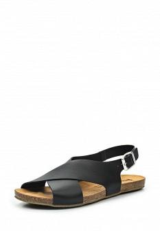 Женские черные испанские кожаные сандалии