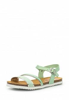Женские зеленые испанские кожаные сандалии