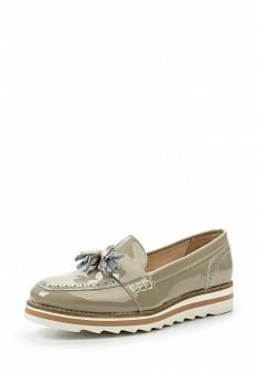 Женские серые кожаные лаковые туфли лоферы