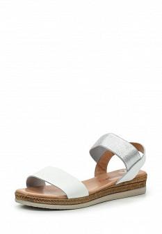 Женские белые испанские кожаные сандалии на каблуке