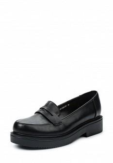 Женские черные осенние туфли лоферы на каблуке