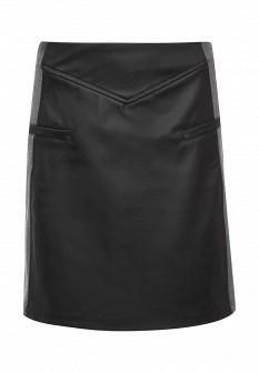 Черная осенняя кожаная юбка emoi