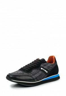 Мужские черные итальянские кожаные кроссовки