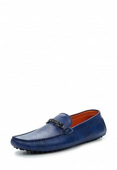 Мужские синие итальянские кожаные мокасины